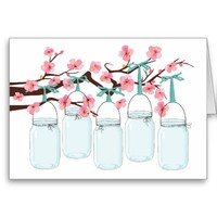 Mason Jars Hanging on Branch Note Card