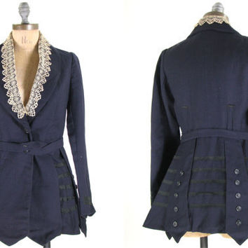 Antique Edwardian Victorian Gothic Riding Jacket Navy Blue XS