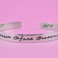 Ovaries Before Brovaries - Hand Stamped Cuff Bracelet, Leslie Knope Quote Bracelet, Fans Gift