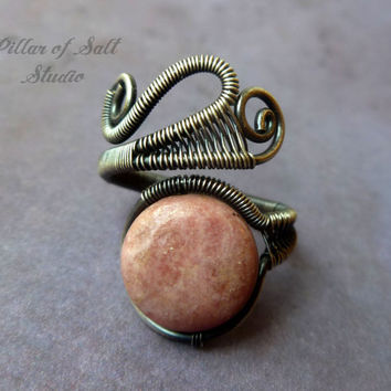 silver filled Wire Wrapped Ring, wire wrapped jewelry handmade sterling silver ring, pink Rhodonite gemstone, antiqued silver jewelry