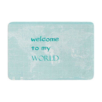"""Catherine Holcombe """"Welcome to my World Quote"""" Memory Foam Bath Mat"""