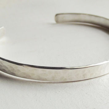 Solid Sterling 925 Hammered Silver Shiny Artisan Cuff Jewelry Womens Gift - Oh My Metals - Free Shipping