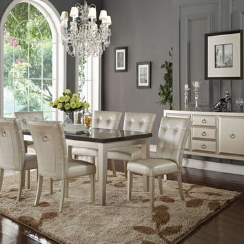 Acme 72025-27 7 pc voeville platinum finish wood and blue stone top dining table set