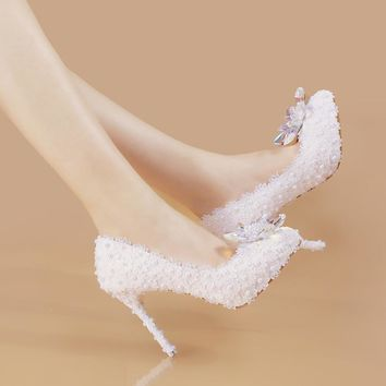Autumn Spring white wedding shoes slipper with Rhinestones all-match bride shoes white lace flowers