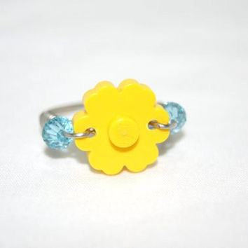 Yellow Lego Flower Ring