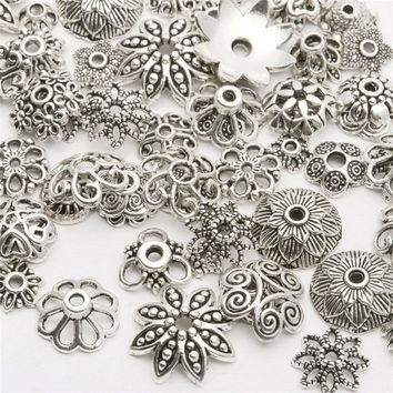 150 Pcs Tibetan Silver Spacer Beads Metal Findings  End Caps for Jewelry DIY