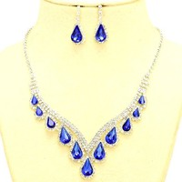 Affordable Jewelry Sapphire Blue Clear Rhinestone Silver Necklace Jewelry Earrings Set