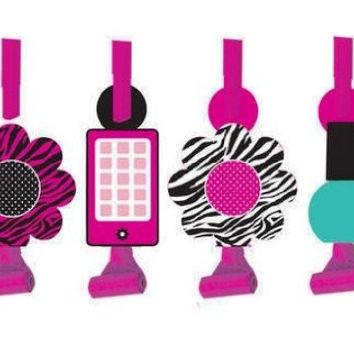 Creative Converting Pink Zebra Boutique Birthday Party Blowouts, 8 Favors Per Package
