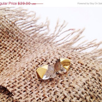Super Sale Gold Dipped Herkimer Diamond Earrings by YouNaturally