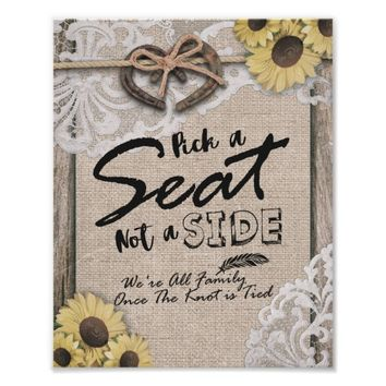 Rustic Horseshoes Pick A Seat Not A Side Wedding Poster
