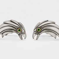 Eagle Cufflinks in Sterling Silver, 18K Gold, Emeralds