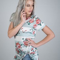 Floral Striped Knotted Top in MINT