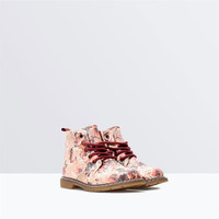 Flower-print lace-up boots
