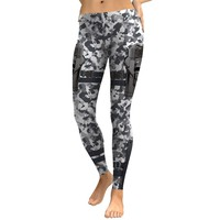 JIGERJOGER 2018 Grey Camo Camouflag Gun Sublimation Printed Women's Plus size XL yoga leggings sportswear running jeggings tight