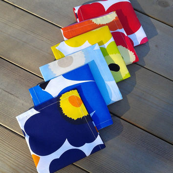 Marimekko fabric napkins, cloth napkins, table napkins, modern napkins, picnic napkins, floral, rainbow colors, set of 6