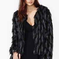 Gray Skies Faux Fur Coat