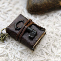 The Keyper - Miniature Wearable Book, Dark Brown Leather, Tea Stained Pages, Tiny Vintage Key, OOAK