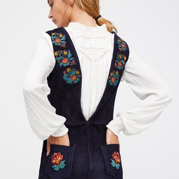 Free People Embroidered Suede Jumpsuit