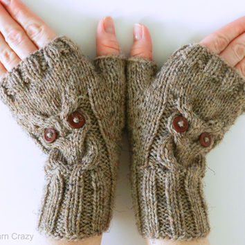 Owl Fingerless Mittens // Cable Knit Fingerless Gloves // READY TO SHIP // Fall Fashion Accessories