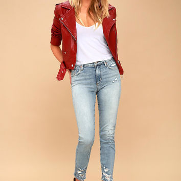 Sophie High Rise Light Wash Distressed Skinny Jeans