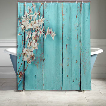 Peach Blossom Aqua Wooden Stripes Door Shower Curtain Flower Bathroom Decor Home Decor