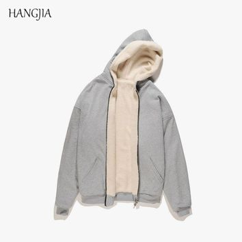 Mens Fleece Sherpa Hoodies Male Plus Velvet Thicken Pullover High Street Hiphop Kanye West Autumn Winter Trend Urban Clothes