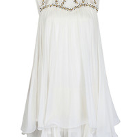 White Beaded Cut Out Detail Layer Chiffon Dress