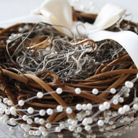 Ring bearer pillow Rustic nest ring pillow Rustic ring box Rustic wedding ring bearer nest pillow Woodland ring holder Ready to ship PUCK