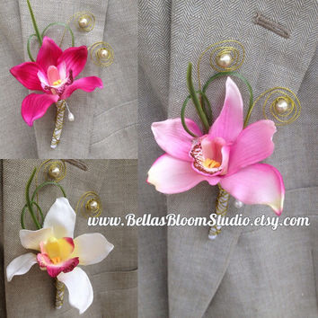 Boutonniere White,Orchid Boutonniere,Beach Boutonniere,Men's Lapel Pin,White Lapel pin,Beach Wedding Boutonniere,White boutonniere,etsy