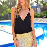 Chiffon Black V-Neck Top Dress with Gold Sequin Skirt