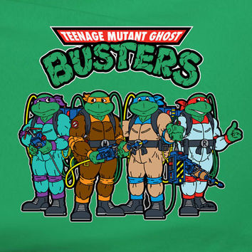 TMNT 80's Ghostbusters Ghost Busters parody Teenage Mutant Ninja Turtles Movie Tee T-Shirt 80's