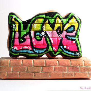 Graffiti Wedding Cake Topper - Love - Offbeat Wedding Decoration - Ready to Ship Handmade Sculpture