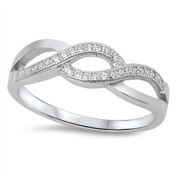 925 Sterling Silver CZ Infinity Times Three Ring 6MM