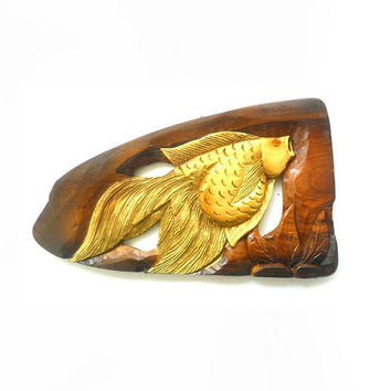 "Natural Teak Wood Carving Gold Fish Wall Hanging Art Home Decor Wooden Hand Carved / Gift 18.75""X8.5"""