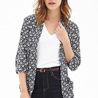 FOREVER 21 Abstract Print Kimono Midnight/Cream