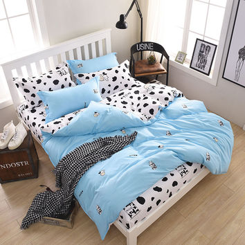cute Cows Bedding Set 4pcs/3pcs Duvet Cover Sets Soft Polyester Bed Linen Flat Bed Sheet Set Pillowcase Home Textile Drop Ship