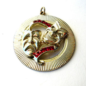 Vintage Comedy and Tragedy Mask Pendant - Theater Pendant - Thespian