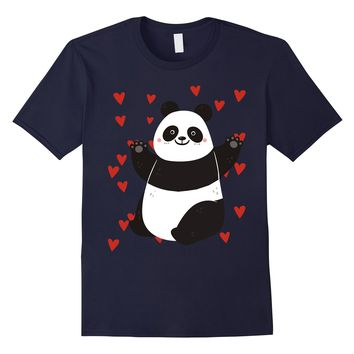 Funny Valentines Day Shirt I Love Cute Panda Kids Gift