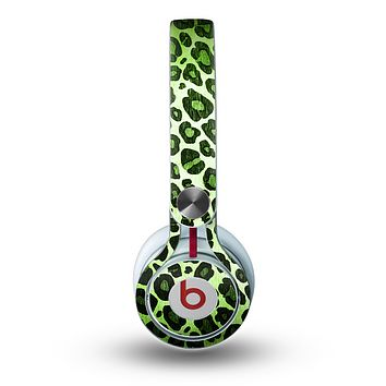 The Vibrant Green Leopard Print Skin for the Beats by Dre Mixr Headphones