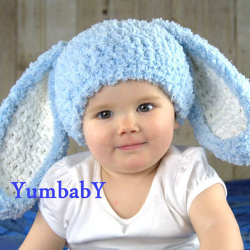 Blue Fluffy Easter Bunny Hat Rabbit Ears Beanie Floppy Ear