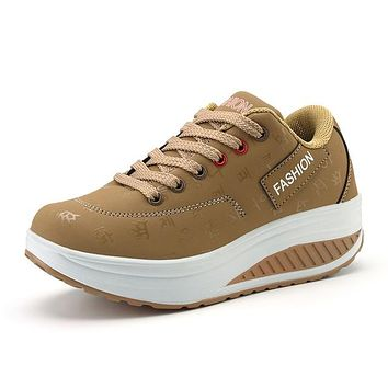 Fashion Women Height Increasing Breathable Waterproof Wedges Sneakers