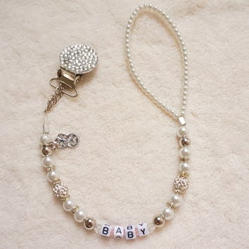 Personalised -Any name Bling silver rhinestone hand made pacifier chain pacifier clips Dummy clip Teethers clip pacifier holder