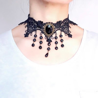 SALE black choker necklace // gothic lace choker // beaded choker // vintage victorian punk art deco   gift for her