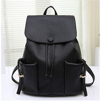 Black Front Pocket Drawstring Tassel Backpack