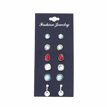 6 Pairs / Set Crystal Earrings For Women Blue And Red Stone Beads Vintage Punk Water Droplets Ears Clips Jewelry