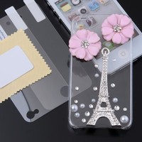 Dexule Clear Fashion Sweety Girls Hand Made 3D Hard Case Cover for iphone 4 4S with Screen Protector