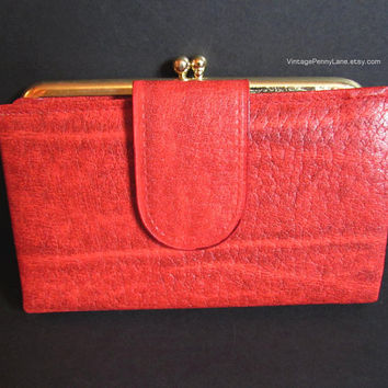 Vintage Red Leather Wallet, Renwick Cowhide, Vintage Wallet / Coin Purse