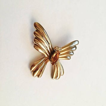 Signed Coro Gold Toned Butterfly Moth Brooch with Center Gold Rhinestone and Two Clear Rhinestone Eyes, Fun Coro Brooch Pin