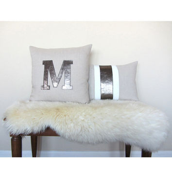 "Metallic Leather Personalized ""Initial"" Pillow Cover - Lt. Natural / Gunmetal"