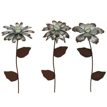 "CEDAR HOME Galvanized Floral Garden Stake Outdoor Glow in Dark Plant Pick Water Proof Metal Stick Art Ornament Decor for Lawn Yard Patio, 4"" W x 1.5"" D x 14"" H, 3 Set"